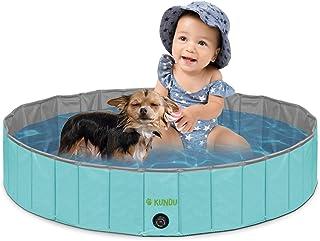 "KUNDU Round (32"" Diameter x 8"" Deep) Heavy Duty PVC Outdoor Pets and Kids Pool/Bathing Tub - Portable & Foldable - Medium"