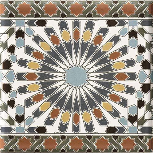 Casa Moro Marokkanische Fliesen-Bordüre Kasbah 20x20 cm mehrfarbig mit Mosaik-Muster | orientalische Bordüre für Bad & Küchenrückwand | schöne Küche Flur & Badezimmer