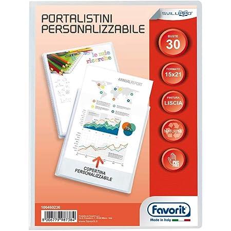 Favorit 100460236 - Portalistino con Buste Fisse e Tasca Frontale Personalizzabile per Fogli 30 Buste, A5, Trasparente