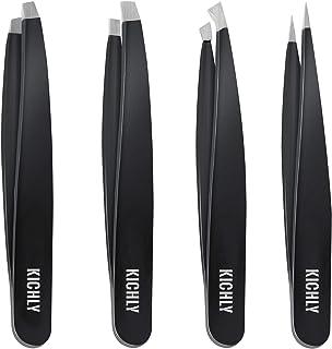 Professional Stainless Steel Tweezers Set (4-Piece) – Precision Tweezers for Ingrown Hair, Facial Hair, Splinter, Blackhea...