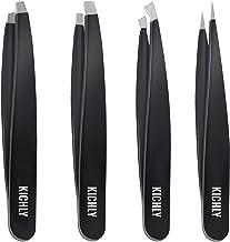 Pince à épiler professionnelle en acier inoxydable (4 pièces) - Pincettes de précision pour poils incarnés, poils faciaux, échardes, points noirs et tiques par KICHLY