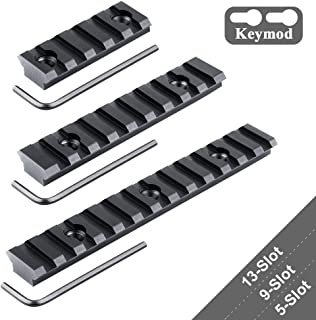 GVN Keymod Aluminum Picatinny Rail Sections,5-Slot 9-Slot 13-Slot Lightweight Rail Section for Keymod Compatible Systems - 3 Pieces (5/9/13 Slot)