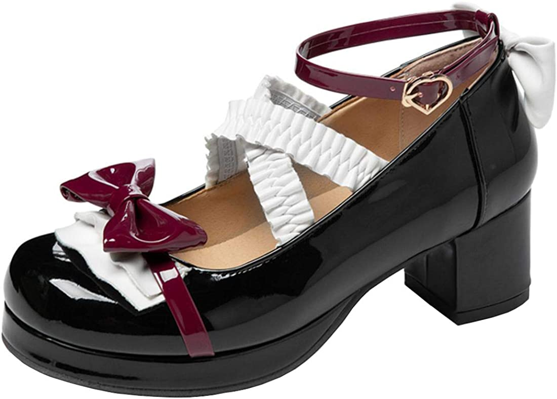 AIMODOR Womems Patent Mary Jane Lolita Platform 5 popular Heel Ranking TOP9 Chunky Cros