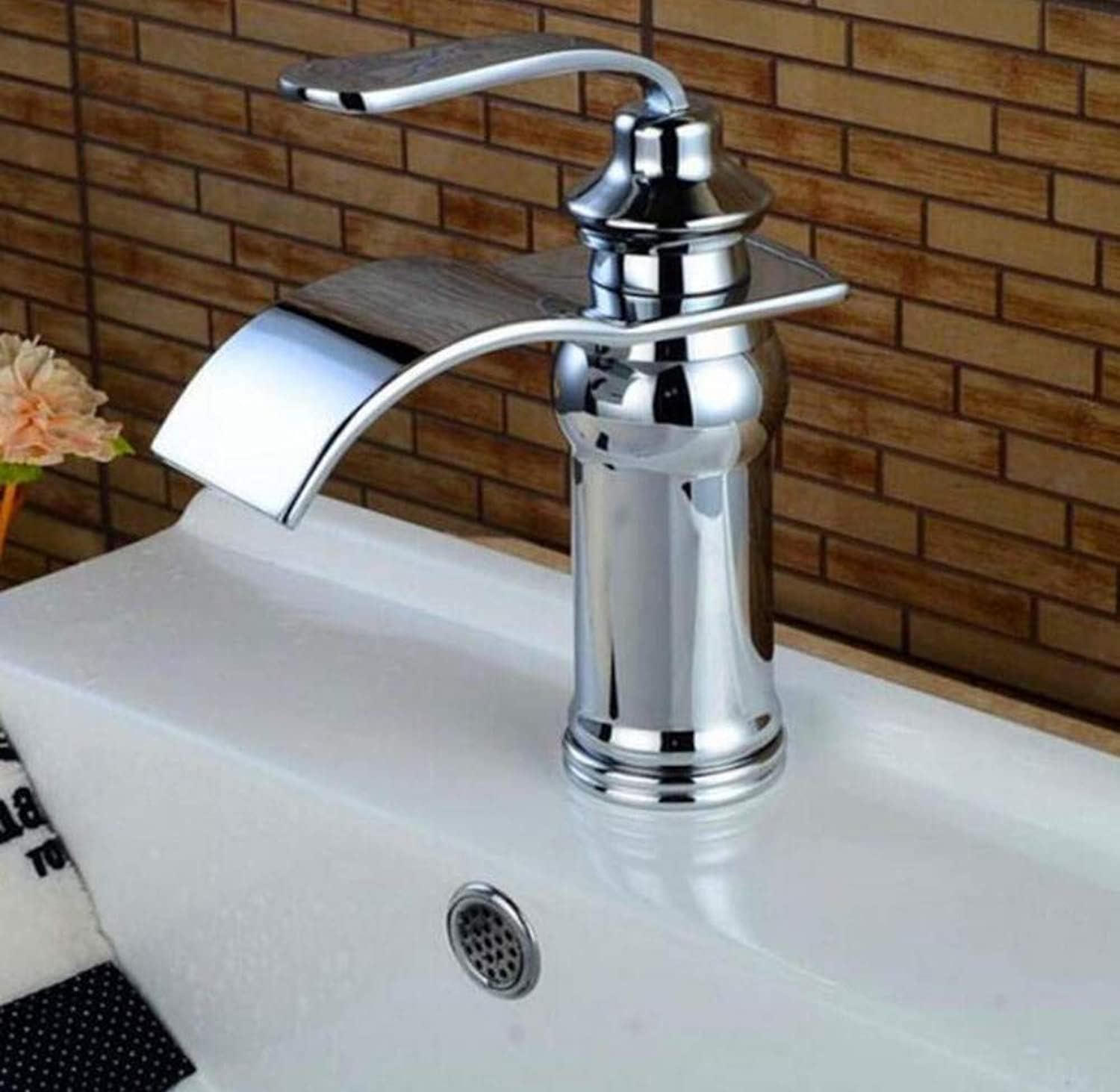 Brass Wall Faucet Chrome Brass Faucetfaucet Single Handle Single Hole Bathroom Basin Faucet Cold and Hot Waterfall Faucet