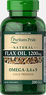 Puritan's Pride Natural Flax Oil 1200mg, Rapid Release Softgels, 200ct