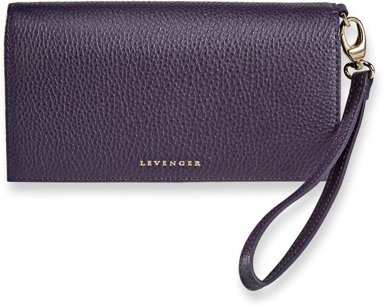 Levenger Sara Wristlet Luxurious Leather Snap Wallet  Passport Wallet, Grape (AL14855 GP)