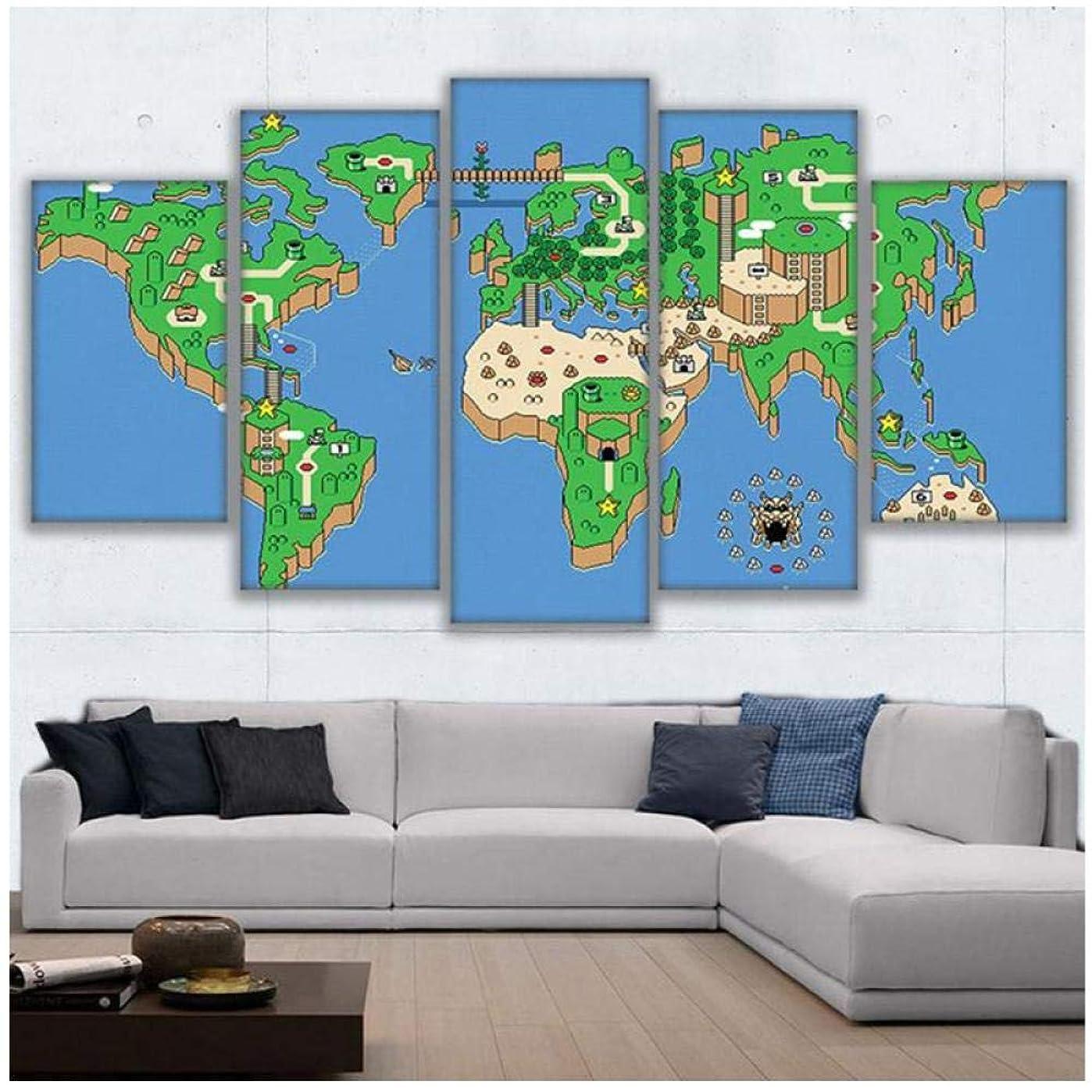 最小化する壊滅的なカイウスキャンバスウォールアート写真家の装飾リビングルーム5ピース絵画hdプリントゲーム世界地図ポスター-30x40x2 30x60x2 30x80cm(フレームなし)