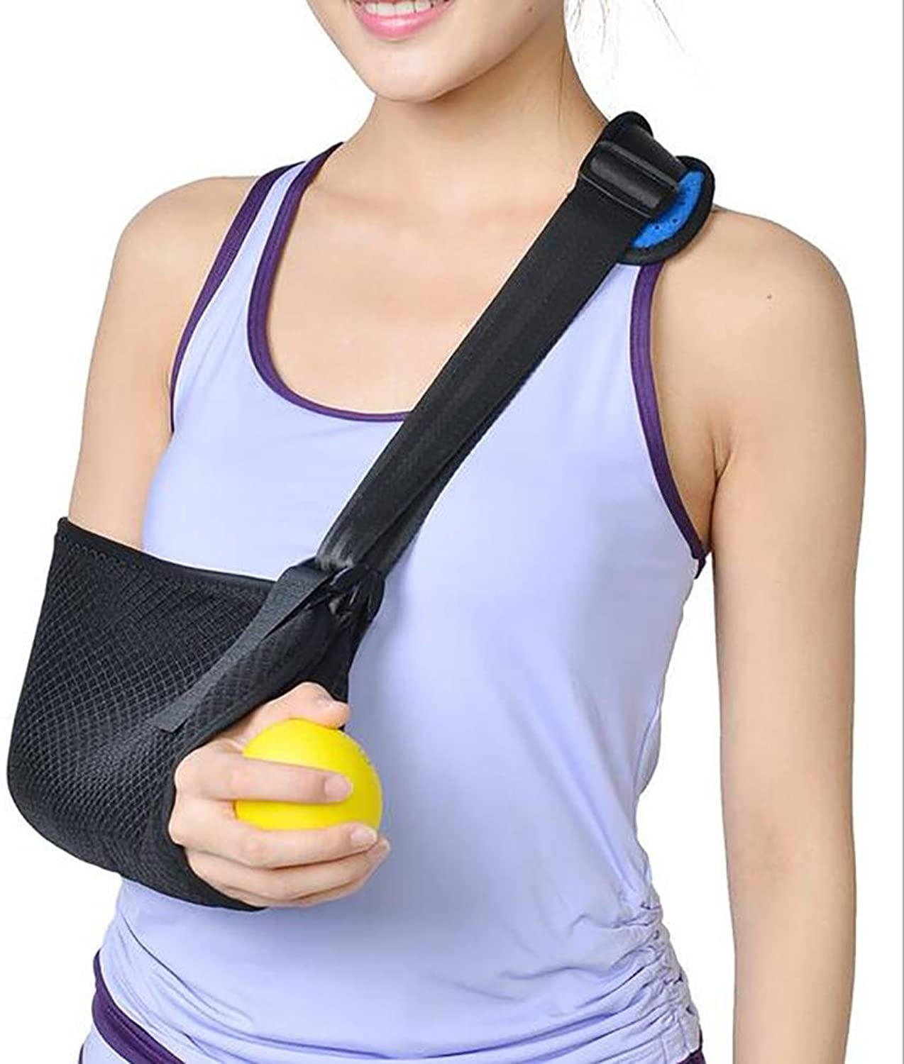 LPY-Arm Sling with Thumb Support Dislocated Shoulder for Broken Arm Immobilizer Wrist Elbow Support Ergonomic, Lightweight, Breathable Mesh, Split StrapSuits both Men & Women, (Adult)