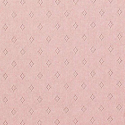 Fabulous Fabrics Feinstrickjersey mit Lochmuster – Altrosa — Meterware ab 0,5m — Oeko-Tex Standard 100 Produktklasse I — zum Nähen von Tops, Kinderbekleidung und Babybekleidung