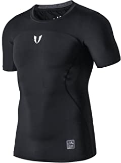 FIRM ABS Men's Short Sleeve Running Fitness Workout Compression Base Layer Shirt