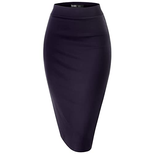 c7aa6afc442bd TWINTH Pencil Skirts Plus Size Casual Skirt Elastic Waist Band Scuba  Streychy Solid Color