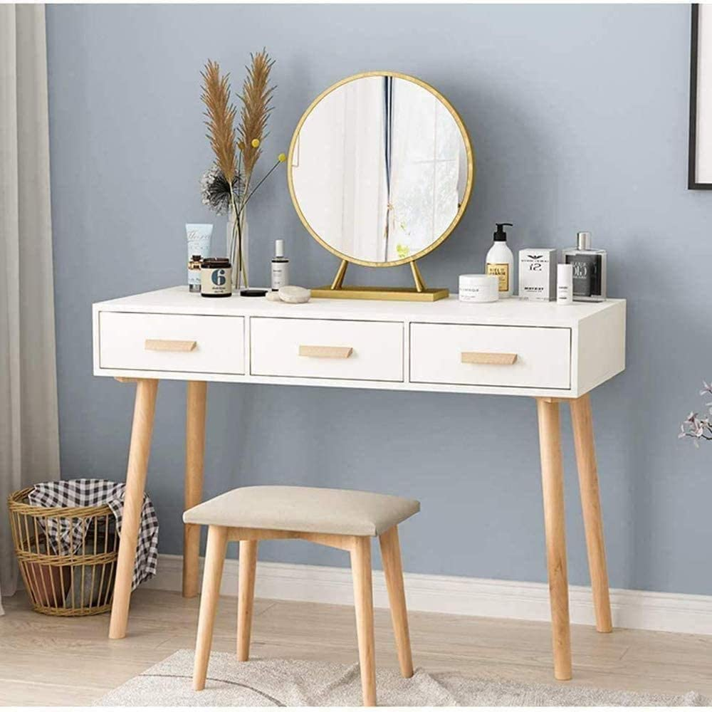 Large Round Free Standing Dressing Table Vanity Mirror,Standing Travel Or Bathroom Mirror,Gold,30cm