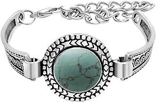 SENFAI منحوت التبت الفضة مقلد الأحجار الكريمة خمر سوار 8 بوصة