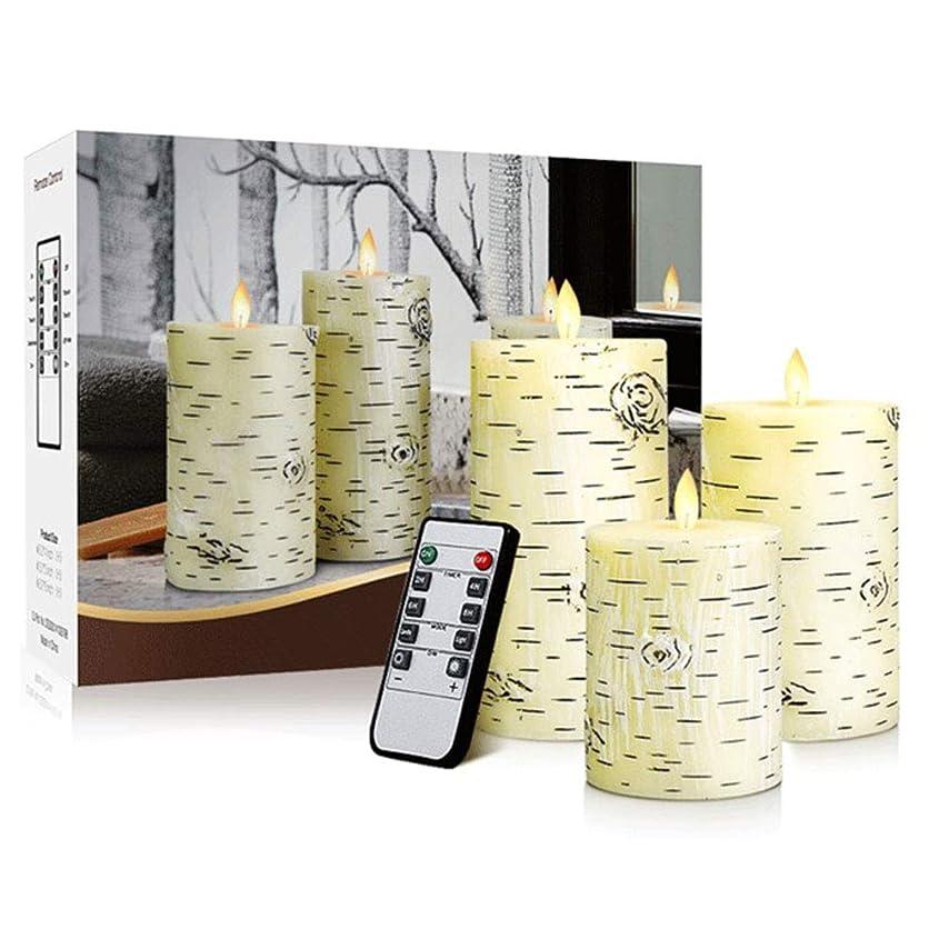 イヤホンプラットフォームボリューム導かれた電子蝋燭のリモート?コントロール3部分が付いている平らな口のシラカバの木の蝋燭