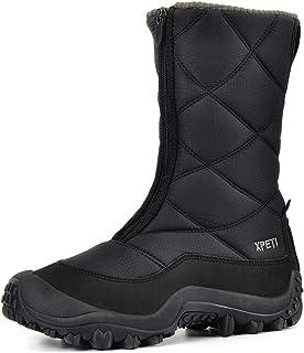 XPETI Women's Nora Zip Waterproof Hiking Boot Winter Snow Boots Dark Gray