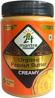 24 Mantra Organic Organic Peanut Butter (Creamy) Bottle, 800 g