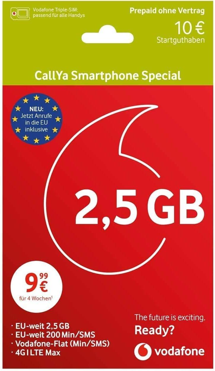Vodafone Freikarte CallYa Smartphone Special + 20 EUR Startguthaben