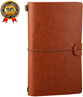 Leather Notebook Journal Diary,Travel Journal,Refillable Vintage Journals to Write in for Men and Women,Classic Retro Style,Perfect for Travelers,Fountain Pen Users,8 x4.7inches,3 Refills,Brown
