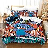 LKFFHAVD Stitch Juego de ropa de cama Lilo & Stitch, funda de...