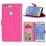 Fatcatparadise Funda para Huawei Honor 8 [con Protector Pantalla], Carcasa con Tapa Flip Case Magnético Parachoques Golpes Cartera Billetera PU Cuero Suave Case Cover (Rosa Roja)