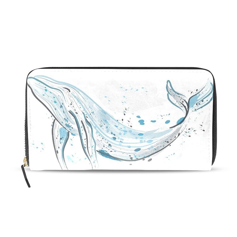 ジレンマ観客摘むAOMOKI 財布 レディース 長財布 大容量 PUレザー 幅20*丈11cm 鯨 白 絵