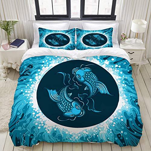 ALLMILL Bedding Bedrucktes Bettbezug-Sets,Karpfen Fische Wasser Sternzeichen Fisch,Mikrofaser Kinder Student Schlafsaal Bettwäsche Set (1 Bettbezug + 2 Kissenbezüge)