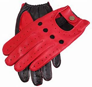 Dents Mens Berry Leather Two Tone Driving Gloves - Red/Black