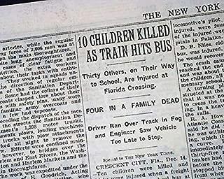CRESCENT CITY Florida School Bus & Train Tragedy & John Dillinger 1933 Newspaper NEW YORK TIMES, December 15, 1933