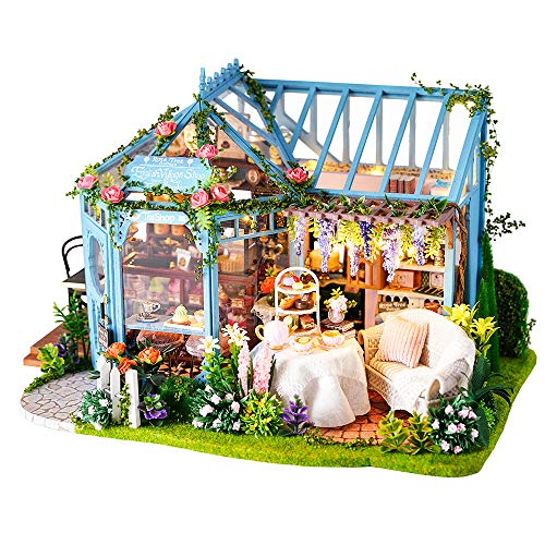 Fsolis DIY Puppenhaus-Miniatur-Kit mit Möbeln, 3D-Holz-Miniaturhaus mit Staubschutz und Musikbewegung, Miniatur-Puppenhaus-Kit