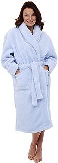 Women's Plush Fleece Robe, Warm Long Hair Shaggy Bathrobe