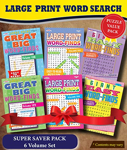 KAPPA Super Saver LARGE PRINT Word Search Puzzle Pack - (Pack of 6) Full Size Books