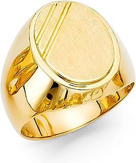 FB Jewels 14K Yellow Gold Mens Engravable Signet Ring