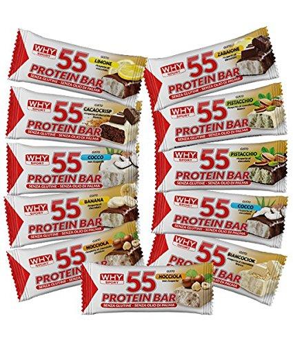 12x WHY SPORT PROTEIN BAR 55, barrette ad alto contenuto proteico (GUSTI ASSORTITI) - NT INTEGRATORI