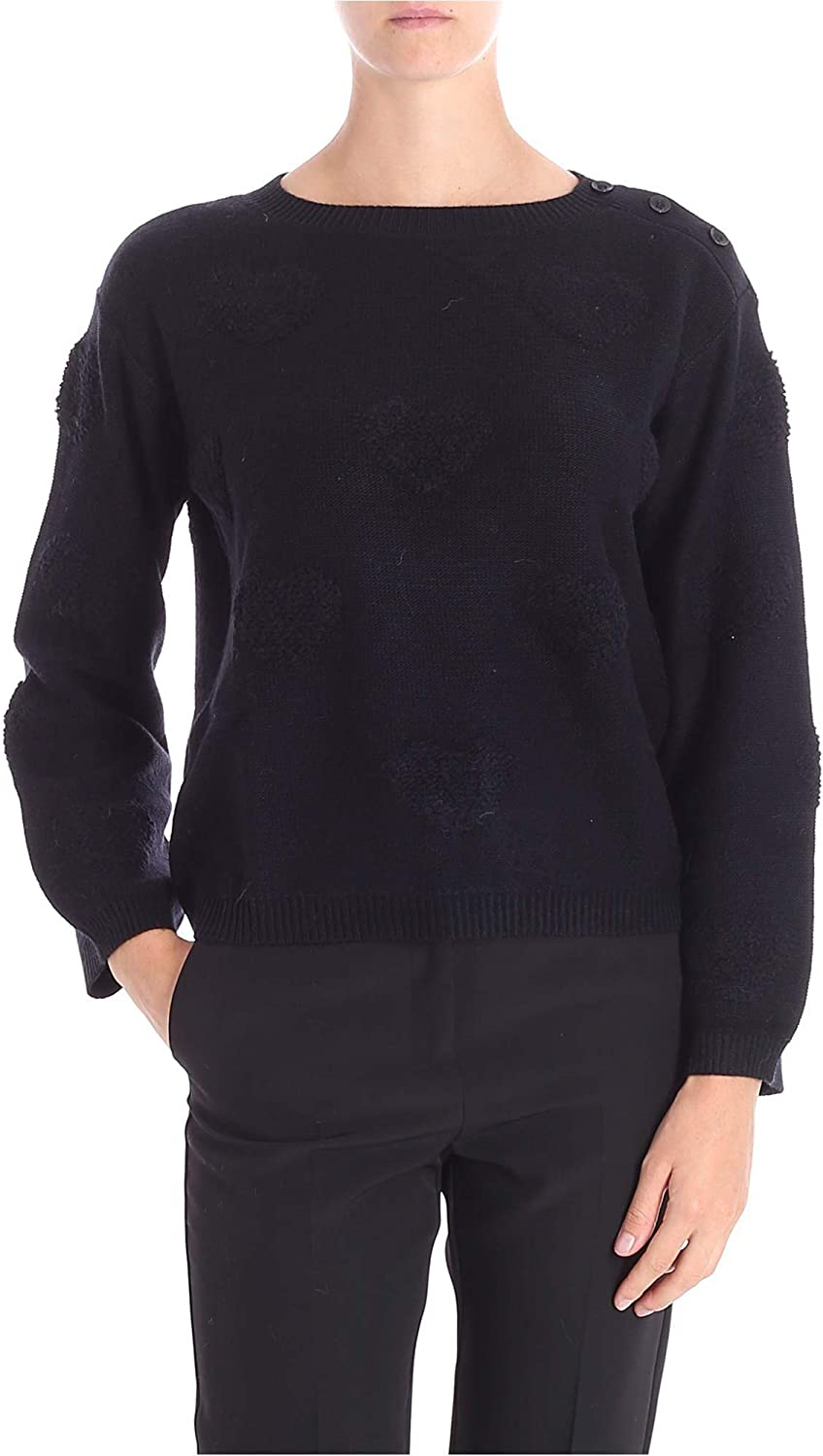 My Twin Women's JA83E100006 Black Acrylic Jumper