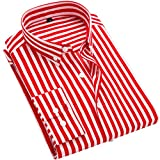 DOKKIA Women's Tops Blouses Long Sleeve Vertical Striped Button Down Work Dress Shirt (Striped Red White, X-Large)