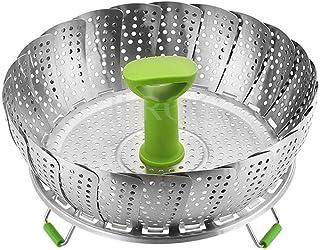 Iswell Cesta para vapores de verduras Vaporera para alimentos 9 pulgadas Lijado de pies Inserto plegable de acero inoxidable Accesorios para ollas y ollas a presión plegables