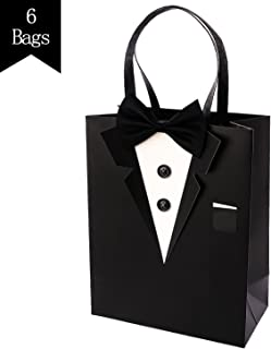 Crisky Classic Black Tuxedo Gift Bags for Groomsman Father's Birthday Anniversary Wedding Favor Bags 10