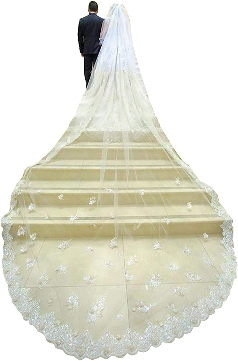 Bridal Veil Ivory White Lace Edge Cathedral Length Long Women Wedding Bridal Veil With Comb