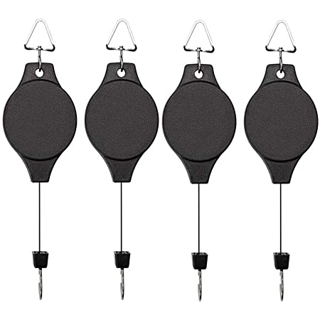 Lythor 4 Pack Plant Hook Pulley, Retractable Plant Hanger Easy Reach Hanging Flower Basket for Garden Baskets Pots and Birds Feeder Hang High up and Pull Down to Water Or Feed