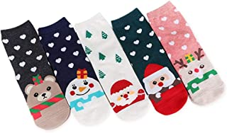Akaddy, 5 pares Calcetines rectos de invierno de Navidad Mujeres Calcetines cortos estampados lindos de dibujos animados