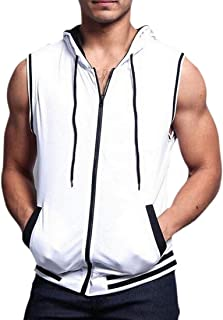 GAGA Men Sleeveless Workout Active Zip-up Hooded Vest Lightweight Tank Top