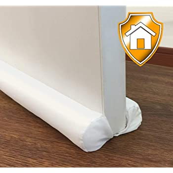 MAXTID Door Draft Stopper White Double Sided Draft Guard Sound Proof Blocker Cold Air Stopper - Adjustable 32 to 38""