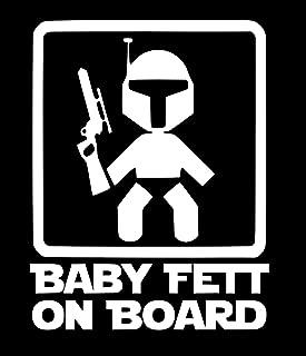 UR Impressions MWht Baby Fett on Board Decal Vinyl Sticker Graphics for Cars Trucks SUV Vans Walls Windows Laptop|Matte White|5.5 X 4.4 Inch|URI002-MW
