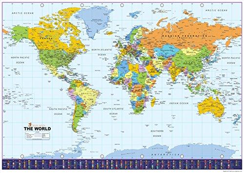 Weltkarte mit Flaggen - Vinyl - Größe A0-84,1 x 118,9 cm