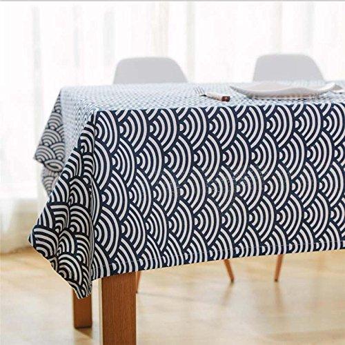 BLUELSS Classique bleu et blanc brodé Lin Nappe Pour Table Cloth Rectangel Accueil Linge de table napperons couvrir Mat,blanc 60*60cm