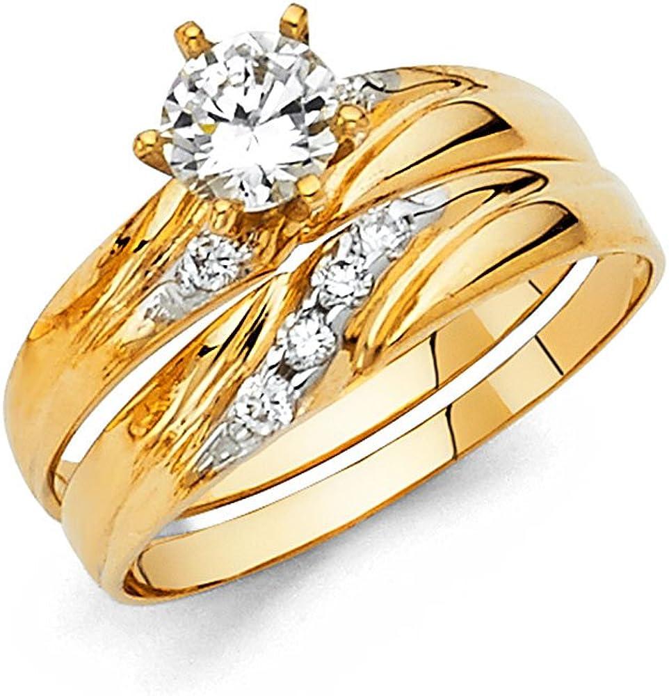 Ladies 14k Yellow Gold Engagement Ring and Wedding Band Bridal Set