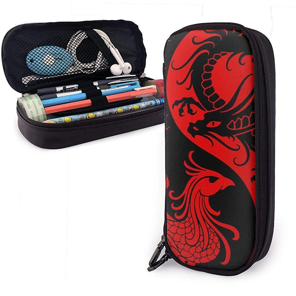 Estuche para bolígrafo de cuero Dragón y fénix Rojo Tai Chi Bolígrafo Papelería Bolsa Bolso Bolígrafo Estuche para bolígrafo: Amazon.es: Oficina y papelería