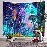 Tapiz Pequeño Toalla Mandala Playa Grande Tapiz De Setas Tapiz De Medusas del Mundo Submarino Tapestry Decoración De Pared para Dormitorio Sala De Estar 200X150Cm