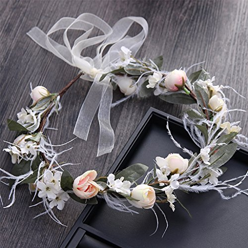 &Kroon bloem hoofdtooi slinger, Headdress Bloem Ring Handgemaakte Bruiloft Bruid Party Lint Hoofdband bloem krans kroon