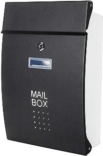 Jssmst(ジェスマット) メールボックス 郵便受け ポスト 北欧風 壁掛け キーロック式 大容量 玄関 HPB005-黒 (ブラック)